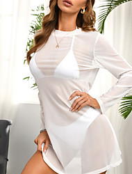cheap -Women's Swimsuit Cover Up Rash Guard Swimsuit Cut Out Mesh Solid Color Color Block White Blushing Pink Brown Swimwear Tunic T shirt Strap Bathing Suits New Sexy