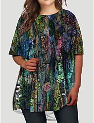 cheap -Women's Plus Size Dress T Shirt Dress Tee Dress Short Mini Dress Half Sleeve Graphic Butterfly Animal Print Basic Fall Spring Summer Blushing Pink XL XXL 3XL 4XL 5XL