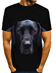cheap -Men's T shirt 3D Print Graphic Animal 3D Print Short Sleeve Daily Tops Basic Casual Black