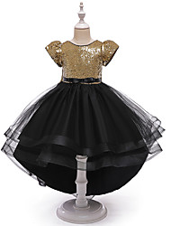 cheap -Princess / Ball Gown Asymmetrical Wedding / Party Flower Girl Dresses - Tulle / Sequined Short Sleeve Jewel Neck with Bow(s) / Paillette