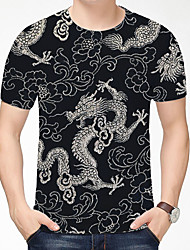 cheap -Men's T shirt 3D Print Dragon Graphic Graphic Prints 3D Print Short Sleeve Daily Tops Chinese Style Casual Red / Blue Blue and White Emerald Green