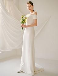 cheap -Mermaid / Trumpet Wedding Dresses Off Shoulder Sweep / Brush Train Satin Short Sleeve Simple Beach Elegant with 2021