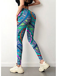 cheap -Women's Colorful Fashion Comfort Weekend Gym Leggings Pants Paisley Geometric Ankle-Length Sporty Elastic Waist Print Blue
