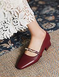 cheap -Women's Heels Block Heel Square Toe Microfiber Imitation Pearl Solid Colored Black Burgundy Beige