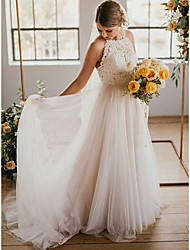 cheap -Sheath / Column Wedding Dresses Halter Neck Court Train Lace Tulle Sleeveless Romantic Beach Sexy with Pleats Appliques 2021