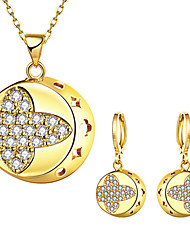 cheap -Women's Cubic Zirconia Jewelry Set Geometrical Flower Stylish Gold Plated Earrings Jewelry Gold For Anniversary Party Evening Gift Festival 1 set
