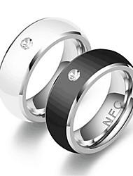 cheap -Ring Silver Black Rhinestone Alloy Stylish Simple 1pc 6 7 8 9 10