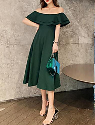 cheap -A-Line Minimalist Elegant Homecoming Cocktail Party Dress Off Shoulder Half Sleeve Tea Length Satin with Pleats Ruffles 2021