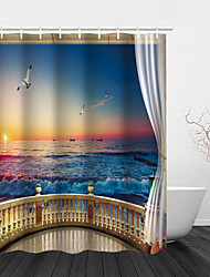 cheap -Shower Curtains with Hooks Seaside Scenery Polyester Fabric Waterproof Shower Curtain for Bathroom 72 Inch