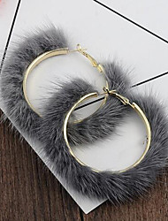cheap -Women's Hoop Earrings Statement Feather Earrings Jewelry White / Black / Gray For Date Festival 1 Pair
