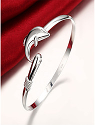 cheap -Women's Bracelet 3D Dolphin Fashion Copper Bracelet Jewelry Silver For Christmas Party Evening Gift Date Birthday / Silver Plated