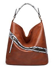 cheap -Women's Bags PU Leather Top Handle Bag Hobo Bag Zipper Solid Color Animal Fur Pattern Daily Office & Career 2021 Handbags Dark Brown Wine Black / White Black