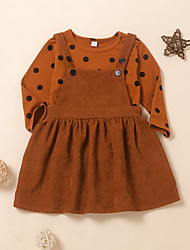cheap -Kids Toddler Girls' Clothing Set Polka Dot Long Sleeve Print Brown Active Regular 2-6 Years