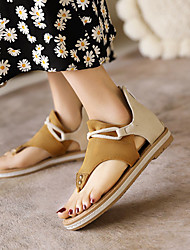 cheap -Women's Sandals Boho Bohemia Beach Flat Heel Open Toe Nubuck Beading Color Block Dark Brown Yellow Pink