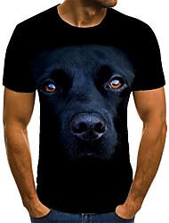 cheap -Men's T shirt 3D Print Animal 3D Print Print Short Sleeve Casual Tops Casual Fashion Light Yellow