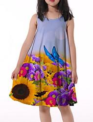 cheap -Kids Little Girls' Dress Butterfly Sun Flower Floral Animal Print Light Blue Knee-length Sleeveless Flower Active Dresses Regular Fit 5-12 Years