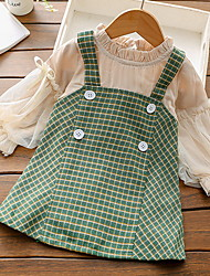 cheap -Toddler Little Girls' Dress Plaid Patchwork Print Khaki Green Knee-length Long Sleeve Basic Dresses Autumn / Fall Winter Regular Fit 2-8 Years