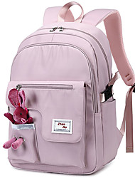 cheap -Women's Oxford Cloth School Bag Rucksack Adjustable Large Capacity Sashes / Ribbons Solid Color School Daily Backpack Black Blushing Pink Light Purple Beige