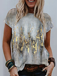 cheap -Women's Abstract Geometric Painting T shirt Floral Graphic Print Round Neck Basic Tops Yellow Khaki Gray