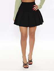 cheap -Women's Date Weekend Elegant Preppy Skirts Solid Colored Pleated Black Green Navy Blue