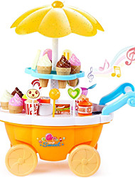 cheap -Ice Cream Cart Toy Toy Kitchen Set Pretend Play Ice Cream Sweet Candy Shop Music & Light Plastic Shell Kid's Preschool Toy Gift 39 pcs