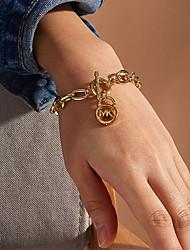 cheap -Women's Chain Bracelet Vintage Bracelet Bracelet Classic Alphabet Shape Fashion Vintage Classic Holiday Trendy Alloy Bracelet Jewelry Gold / Silver For Anniversary Party Evening Gift Birthday Festival