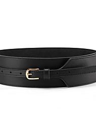 "cheap -womens obi belt vintage pu + genuine leather buckle waist belt fashion wide belts (37.4"", black)"