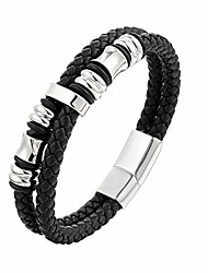 cheap -men's leather bracelet with stainless steel,handmade braided leather bracelet for men women leather wrist band cuff bracelet jewelry magnetic clasp 8 inches