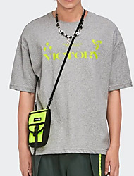 cheap -Men's T shirt Hot Stamping Letter Print Short Sleeve Casual Tops 100% Cotton Basic Casual Fashion Orange Gray