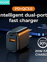 cheap -Joyroom L-QP202 20W Fast Charger Two-port (PD + QC3.0) Smart Charger for iPhone 12 Samsung S21 Xiaomi