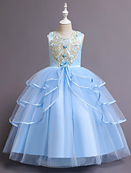 cheap -Ball Gown Floor Length Wedding / Event / Party Flower Girl Dresses - Tulle / Polyester Sleeveless Jewel Neck with Tier / Embroidery / Pattern / Print