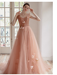 cheap -Ball Gown Plunging Neck Court Train Tulle Bridesmaid Dress with Appliques