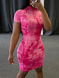 cheap -Women's Sheath Dress Short Mini Dress Pink Blue Short Sleeve Tie Dye Print Summer Turtleneck Elegant 2021 S M L XL XXL