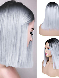 cheap -Synthetic Wig Natural Straight Middle Part Wig Medium Length A15 A16 A17 A18 A19 Synthetic Hair Women's Cosplay Party Fashion Dark Gray White