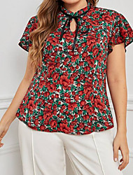 cheap -Women's Plus Size Tops Shirt Print Floral Large Size Standing Collar Short Sleeve Vintage Big Size L XL XXL 3XL 4XL Red