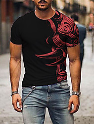 cheap -Men's Tees T shirt 3D Print Graphic Prints Animal Print Short Sleeve Daily Tops Casual Designer Big and Tall Black