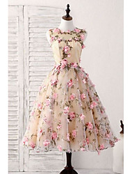 cheap -A-Line Floral Homecoming Cocktail Party Valentine's Day Dress Jewel Neck Sleeveless Short / Mini Satin with Appliques 2021