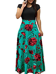 cheap -womens short sleeve loose plain casual long maxi floral print dresses d4a, black green, xx-large