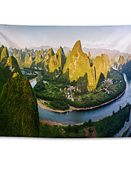 cheap -Wall Tapestry Art Decor Blanket Curtain Hanging Home Bedroom Living Room Decoration Polyester The Scenery of Lijiang River in Yangshuo