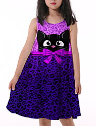 cheap -Kids Little Girls' Dress Animal Print Purple Knee-length Sleeveless Flower Active Dresses Summer Regular Fit 5-12 Years