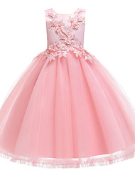 cheap -Ball Gown Ankle Length Wedding / Event / Party Flower Girl Dresses - Tulle / Polyester Sleeveless Jewel Neck with Faux Pearl / Embroidery / Ruching