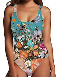 cheap -Women's One Piece Monokini Swimsuit Tummy Control Print Floral Light Blue Khaki Rainbow Swimwear Bodysuit Strap Bathing Suits New Fashion Sexy / Padless