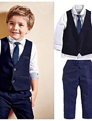 cheap -Kids Toddler Boys' Suit & Blazer Vest Solid Colored Long Sleeve 4pcs Beaded Formal Prom Navy Blue Active Regular 2-6 Years