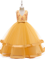 cheap -Ball Gown Floor Length Wedding / Event / Party Flower Girl Dresses - Tulle / Polyester Sleeveless V Neck with Bow(s) / Tier / Embroidery