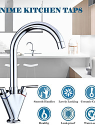 cheap -Kitchen Sink Mixer Taps Monobloc Swivel Spout Chrome Brass Dual Lever with Hoses