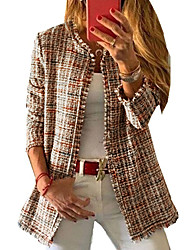 cheap -womens autumn rainbow plaid tweed blazer open front pea coat brown us xs