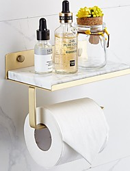 cheap -Bathroom Brass Marble Paper Towel Holder Toilet Roll Holder Creative Mobile Phone Rack Simple Toilet Paper Holder