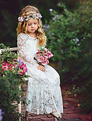 cheap -Kids Girls' Sweet Boho Party White Jacquard Lace Flower Long Sleeve Maxi Dress White