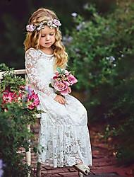 cheap -Kids Girls' Sweet Boho Party White Jacquard Lace Flower Long Sleeve Maxi Dress White