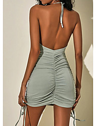 cheap -Women's Sheath Dress Short Mini Dress Gray Sleeveless Solid Color Backless Summer cold shoulder Sexy Cotton 2021 XS S M L